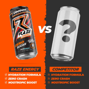 This photo is taken and credited from and to the link https://reppsports.com/product/raze-energy/ to illustrate the difference between Raze Energy and its competitor.